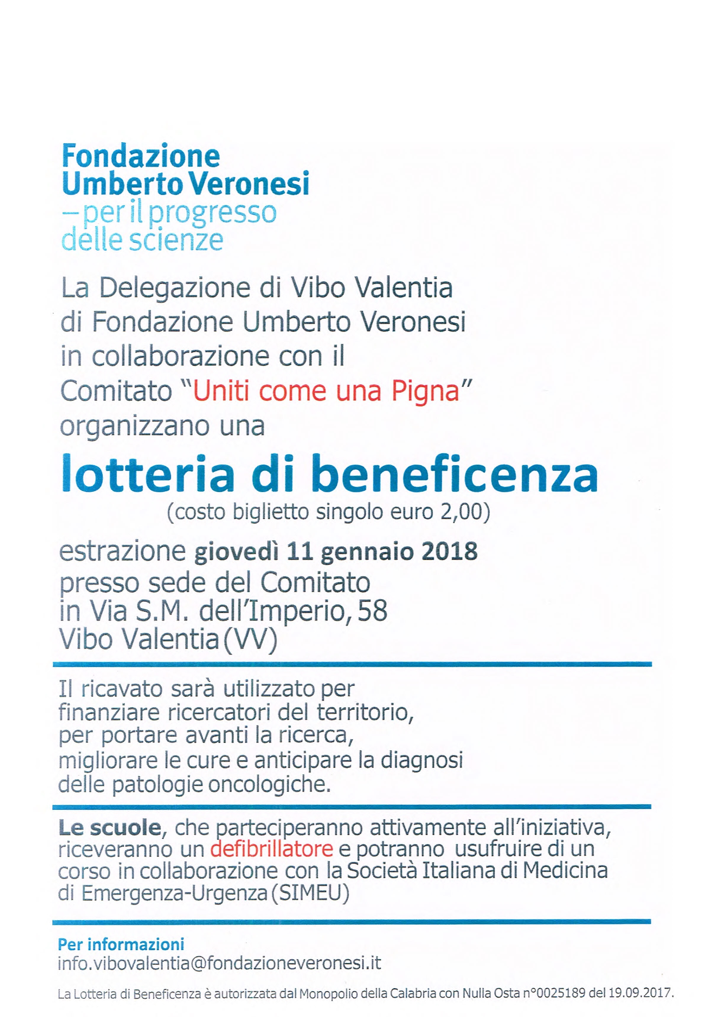 Locandina Lotteria di beneficenza
